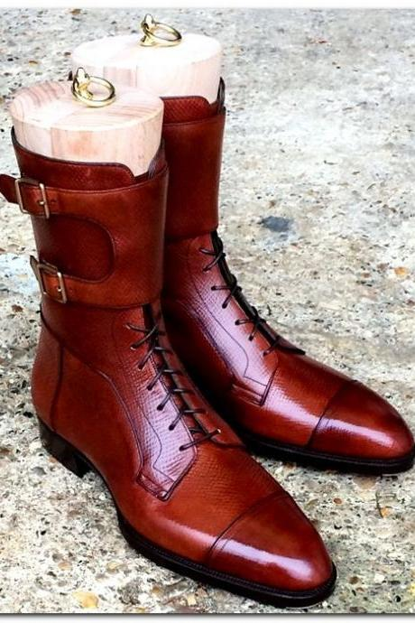 handmade men's tan brown ankle high boots men's handmade brown leather long boots men's genuine leather brown long buckle boots